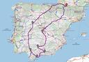 Carte du voyage avec les étapes.
